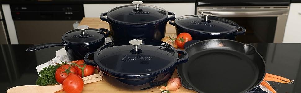 Landhaus cast iron cookware glaze enamel pan pot sauce fry pan skillet dutch oven french braiser