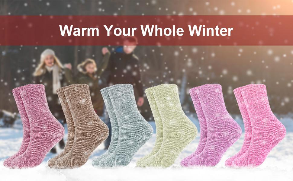 Calze di Lana Donne Calzini Inverno Caldo Morbido Calze Spesse in Cotone Caldo Termici Donna Calze Colori Assortiti Taglia Unica 4 Paia