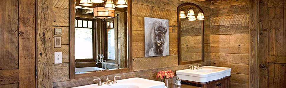 Unduly Curious staging bathroom home decor rustic western north american design amazon banner