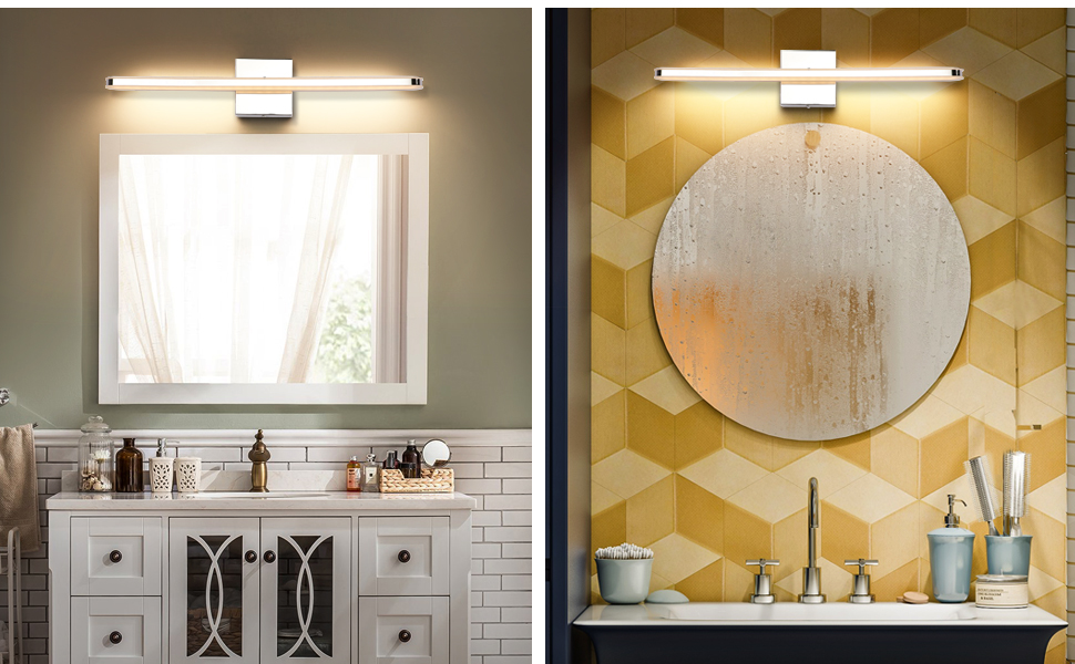 Led Bathroom Vanity Lighting Fixtures Long Shade Stainless Steel Bath Mirror Lamps Wall Lights Amazon Com