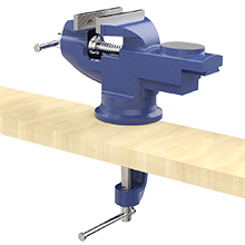 Housolution Universal Table Vise 3 Inch Cutting Conduit 360/°Swivel Base Bench Clamp Home Vise Clamp-On Vise Repair Tool Portable Work Bench Vise for Woodworking Blue Metalworking Drilling