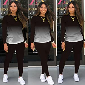 Womens Fashion 2 Piece Outfits Jogging Tracksuit Pullover Hoodie Sweatpants Set Sport Lounge Wear