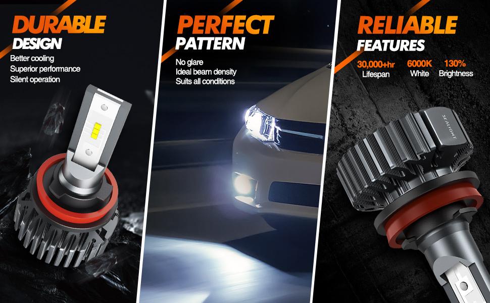 2X H1 H7 H8 9005 9006 8000LM Car LED Headlight Bulbs 6000k Canbus Error Free R65