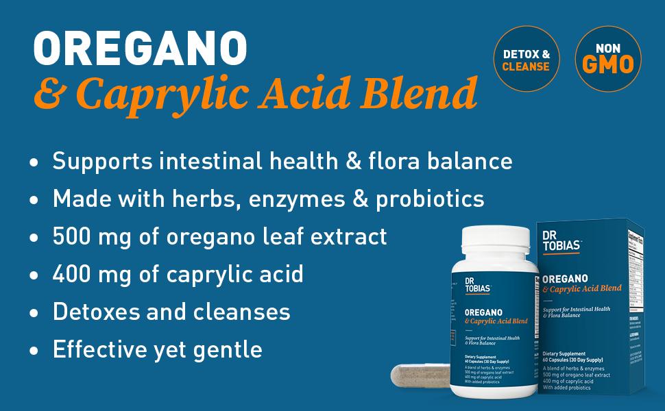 oregano, caprylic, acid, probiotics, probiotic, detox, cleanse, intestinal, health, flora, balance