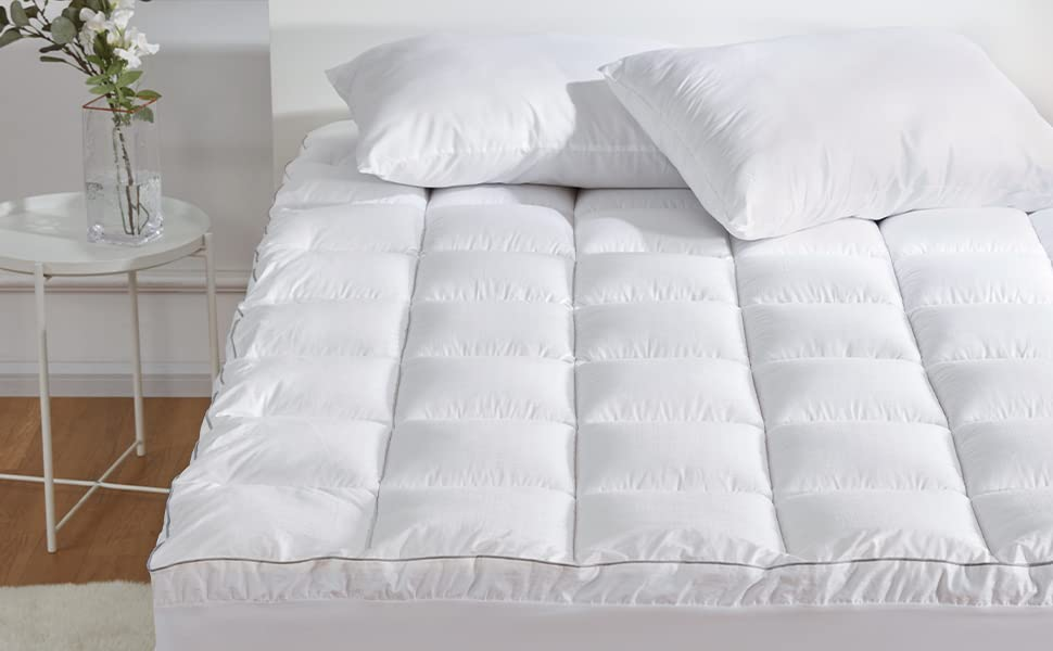 SLEEP ZONE Premium Mattress Pad Cover Cooling Overfilled Fluffy Soft Twin Grey