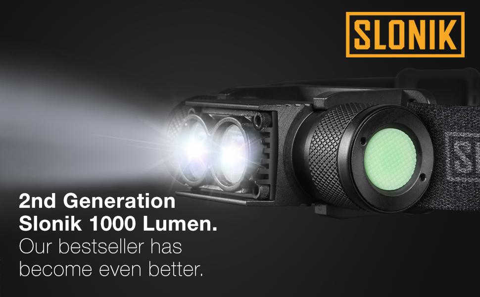 Slonik 2200mAh rechargeable 1000-lumen headlight, super compact, lightweight durable and inexpensive