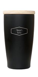 名入れ 木製フタ付 タンブラー お名前ボトルパターン 350ml (ブラック)