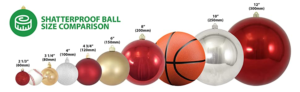 size, comparison, shatterproof, ornaments