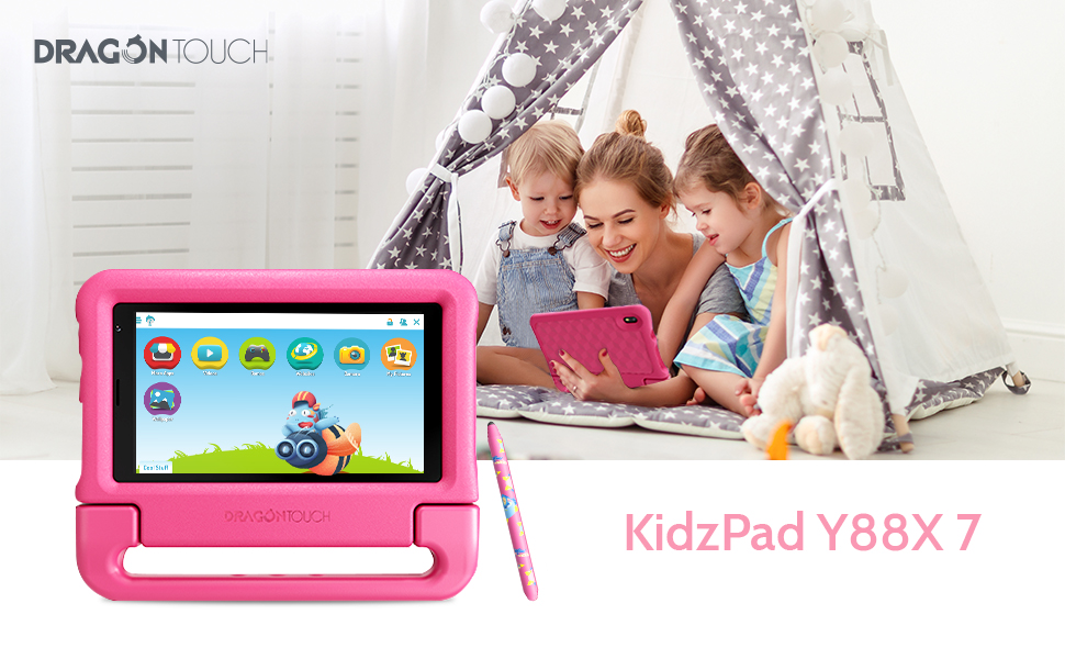 """tablet-banner - Dragon Touch KidzPad Y88X 7 Kids Tablet With WiFi, Android 10, 7"""" IPS HD Display, 32GB ROM, KIDOZ Pre-Installed, With Disney Authorized Contents, Kid-Proof Case, Shoulder Strap And Stylus, Pink"""