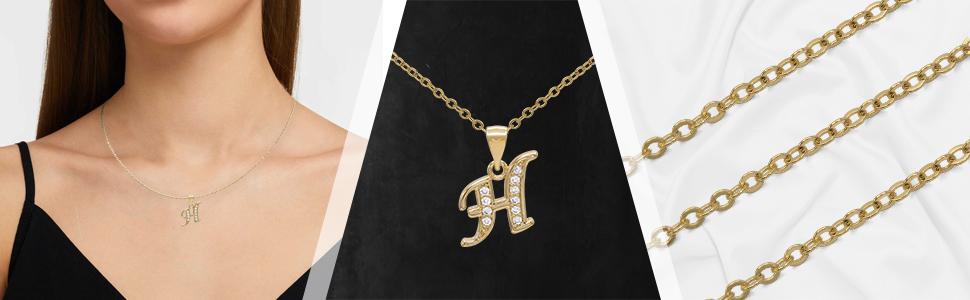 Women initial pendant letter necklace set