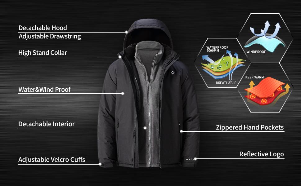 Naviskin Mens 3 in 1 Waterproof Ski Jacket Windproof Rain Jacket Winter Warm Outdoor Snowboarding Coat