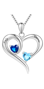 Sterling Silver Engraved 2 Names Necklace Personalized Birthstones for Women