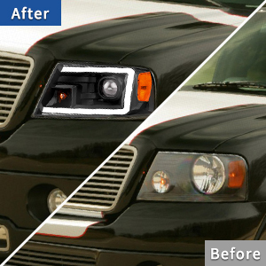 LED DRL Halogen Projector Headlights Compatible with 2004-2008 Ford F150 Pickup