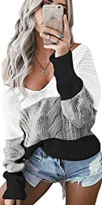 Maglione Donna Oversize Pullover Felpa Scollo a V Invernale Maglioni Manica Lunga