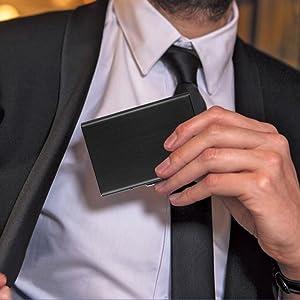 Credit card holder wallet rfid blocking slim for men minimalist aluminium money clip ejector  secrid
