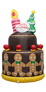 AJY 6 Feet Tall Gingerbread Man Inflatable Happy Birthday Cake