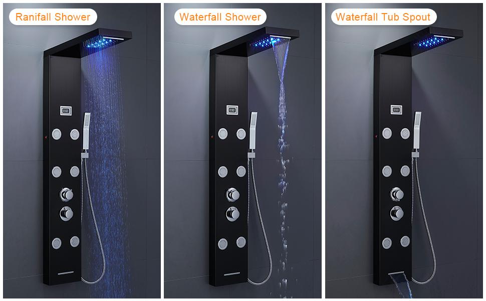 LED waterfall rainfall shower panel
