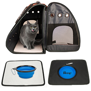 cushion pet backpack feeder water cup pet