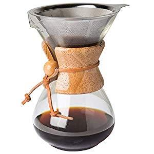 Comfify Pour Over Coffee Maker con Jarra de borosilicato y Filtro de Acero Inoxidable Reutilizable - Cafetera goteadora de café Manual de 500ml con ...