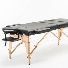 pieds de table de massage d'un cadre en hêtre allemand chalfont noir