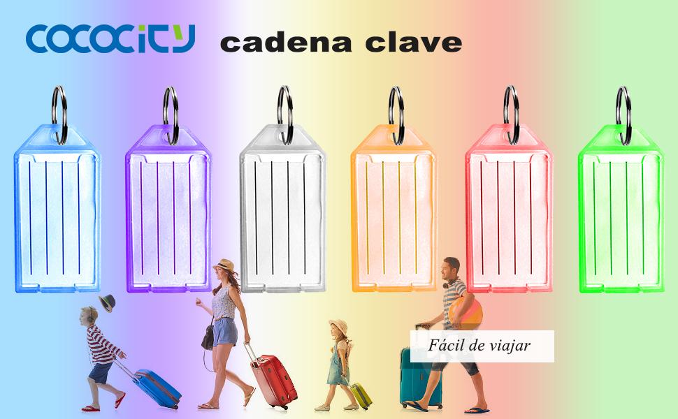 Etiquetas para identificaci/ón de Equipaje Color arco/íris cococity Llaveros con Etiqueta de pl/ástico 48 Unidades
