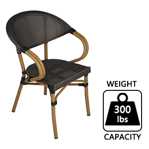 Textilene Mesh Fabric Furniture Chair All-Weather Arm Chair Indoor for Garden/Backyard/Bistro/Cafe
