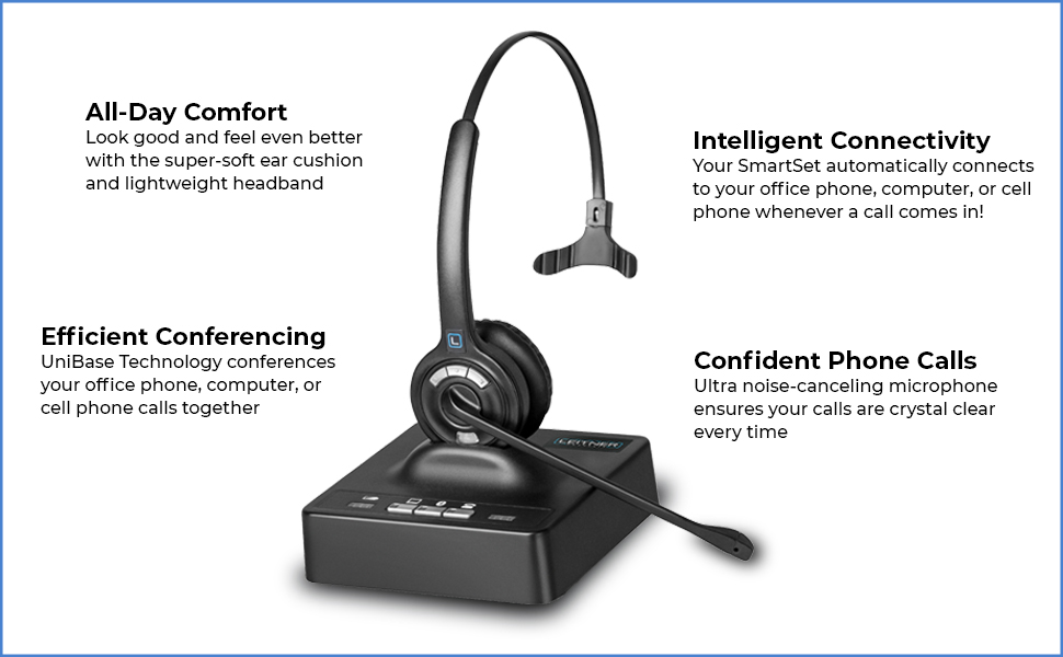 Amazon Com Leitner Smartset 3 In 1 Bluetooth Wireless Office Headset Works With Your Office Phone Computer And Cell Phone On The Ear Electronics