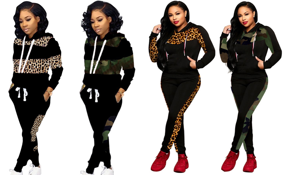 Women Leopard Hooded Sweatsuits with Pockets