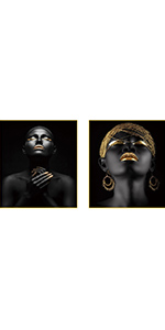 """African American Wall Art Painting Black Set of 2(8""""X10"""" Used for Or Office"""