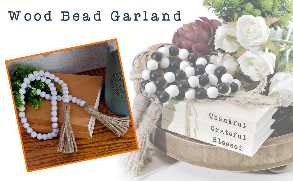 farmhouse beads with tassel tier tray decor items wood beaded garland boho garland decorative beads
