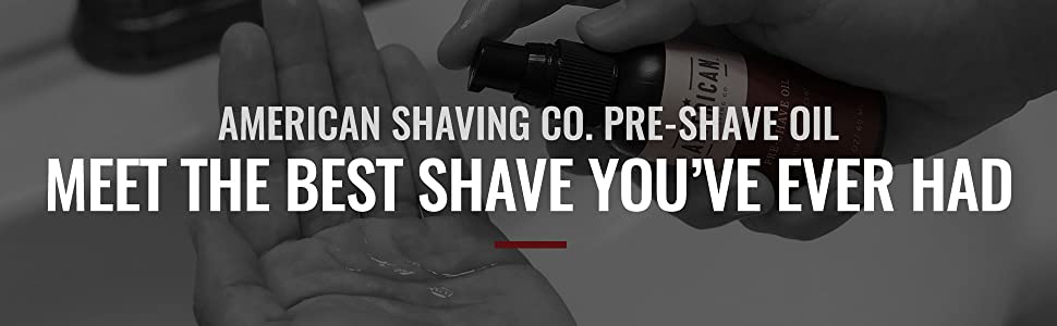 Man pumping a dime-sized portion of American Shaving Co. Pre-Shave Oil into his hand.