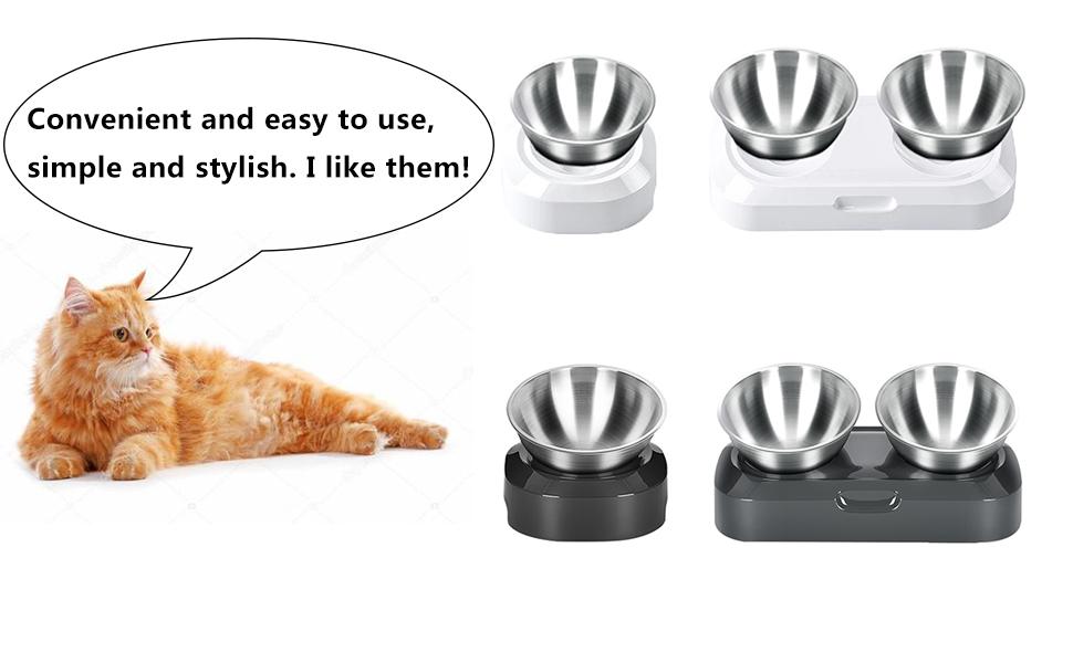 black white stainless steel cat bowl