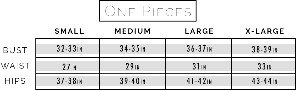 Sunsets one pieces size chart.