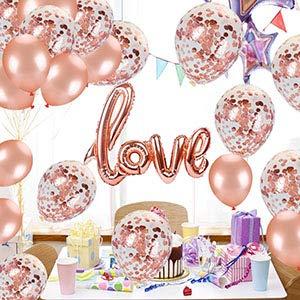 Dr.Kurand 風船 結婚式 誕生日 飾り付け バルーン love 風船ー セットおしゃれ ピンクゴールド ハートバルーン プロポーズ 記念日 風船 (18点セット) お祝い 告白