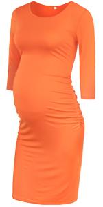 GLAMIX Maternity Short & 3/4 Sleeve Ruched Dress