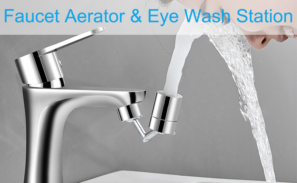 eye wash station and faucet aerator