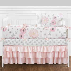 pink and grey floral baby bedding