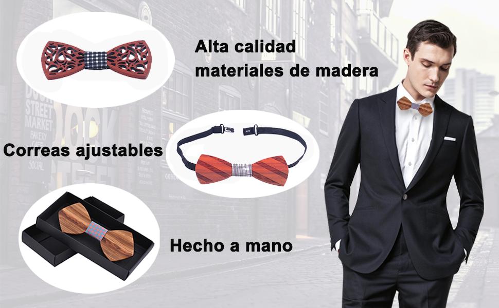 AIEOE - Pajaritas de Corcho para Hombre Corbata de Lazo de Madera ...