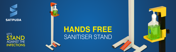 Foot operated sanitiser stand, Hands free sanitiser stand