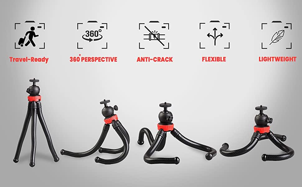 Adjustable Lightweight Flexible Tripod