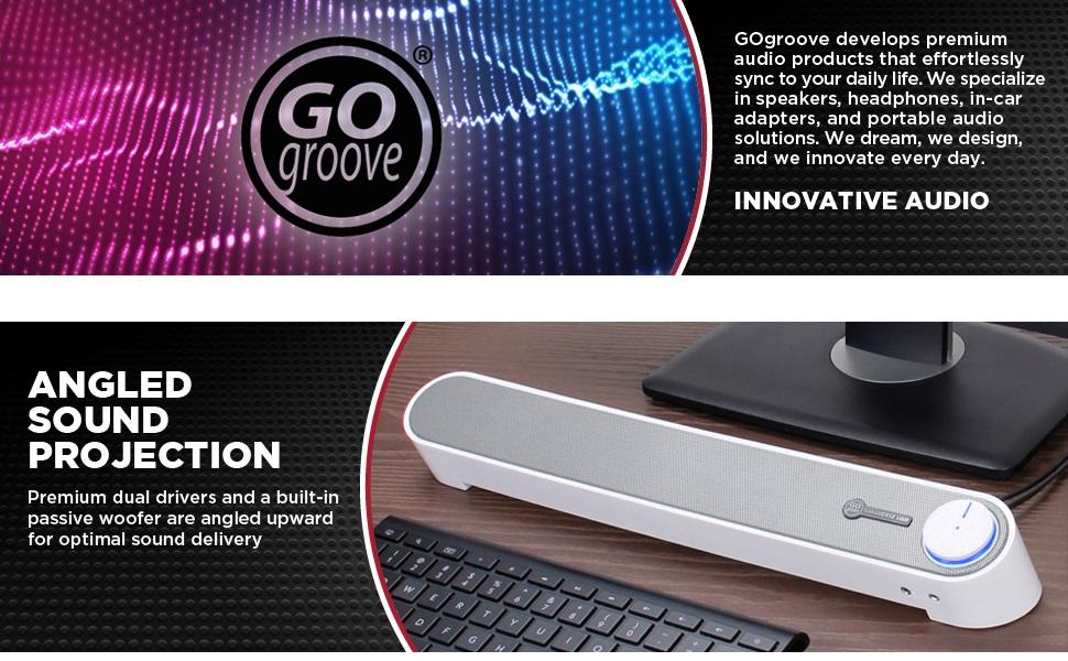 GOgroove SonaVERSE UBR Computer Desktop PC Sound Bar Speaker with Angled Speaker Driver Sound Design