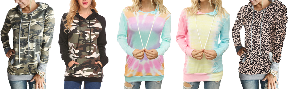 Womens Camouflage Hoodie Sweatshirt Ladies Hooded Jumper Casual Pullover Tops