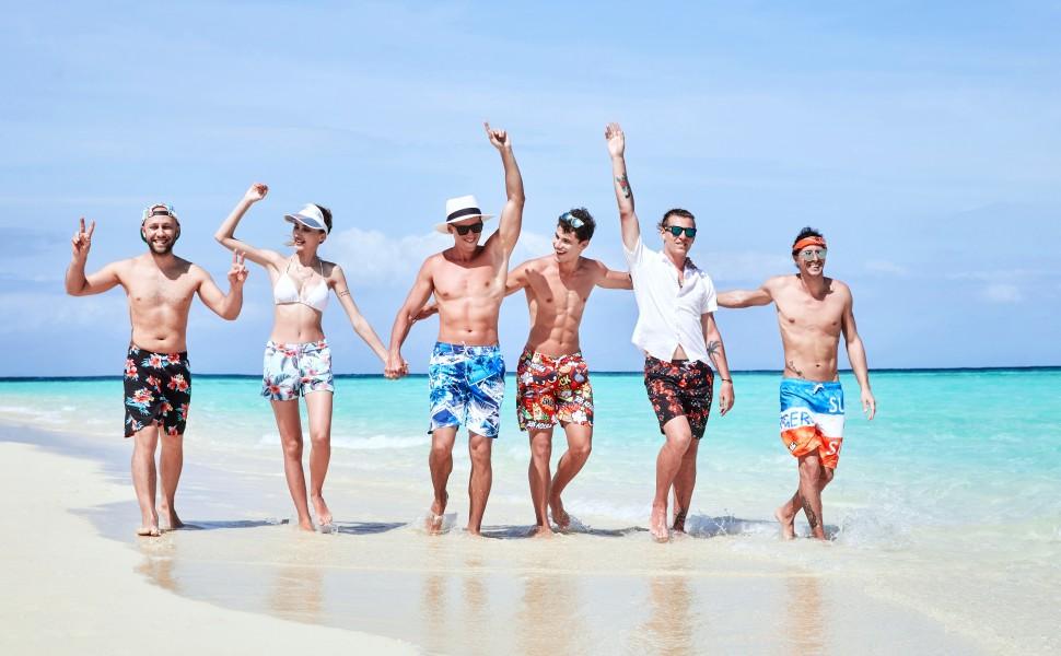 QA/_ Men Flamingo Drawstring Swimwear Beach Pants Short Loose Swimsuits Boxer S