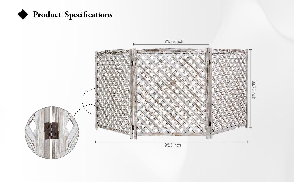 3-Panel White Washed Wood Trellis Design Outdoor Folding Fence Enclosure