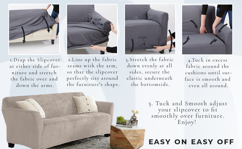 Easy On Easy Off, Slip Cover, Slipcover, Velvet Plush Slipcover