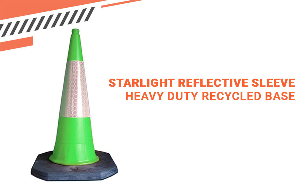 1M Traffic Safety Cone Blue Starlite Reflective Sleeve Kite Marked Recycled Base Hazard Warning Highly Visible Starlite Heavy Duty Safety Cone