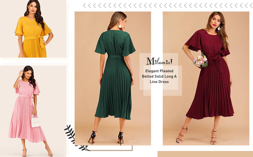Milumia elegant pleated belted dress