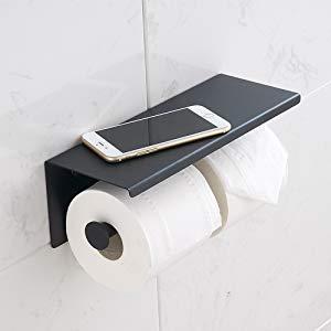 Porte-papier toilette noir avec étagère.