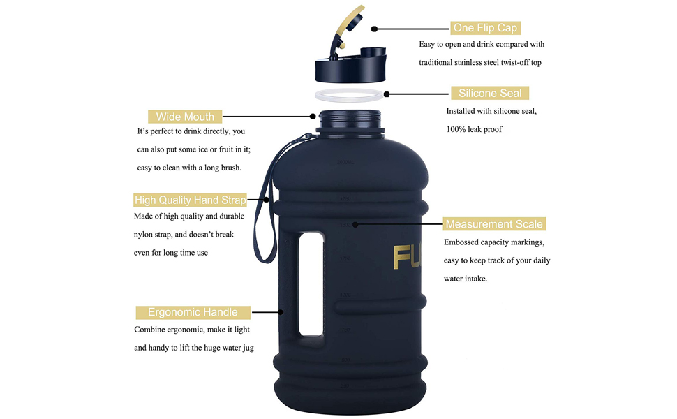 FUNUS Big Water Bottle BPA Free Half Gallon Water Bottle Hydro Jug 2.2L Black