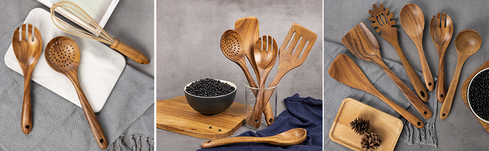 WOODEN UTENSILS KITCHEN SET